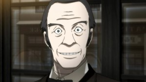 This is what I imagine talking through your teeth as you smile looks like: psychotic. (Photo from Psycho Pass)
