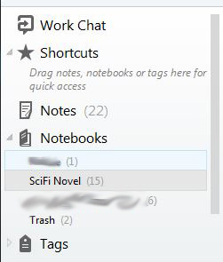 Multiple notebooks contain and separate my various notes for different projects. Tags can be assigned to notes for additional organization