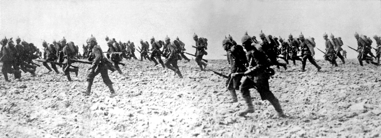 German infantry on the move during WWI