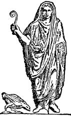 Sketch of a Roman augur, with his lituus.