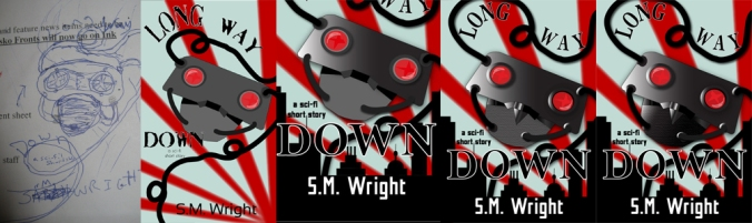 Pictured is the progression of the Long Way Down cover.