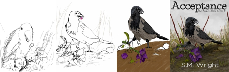 Progression of Acceptance cover from sketch to finished product.
