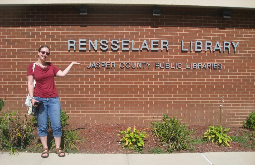 S.M. Wright at the Rensselaer Library in Indiana doing research for a historical fiction novel.