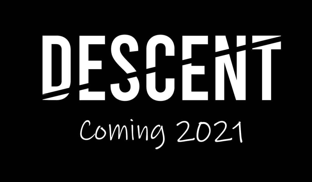 Descent by S.M. Wright name card with coming 2021