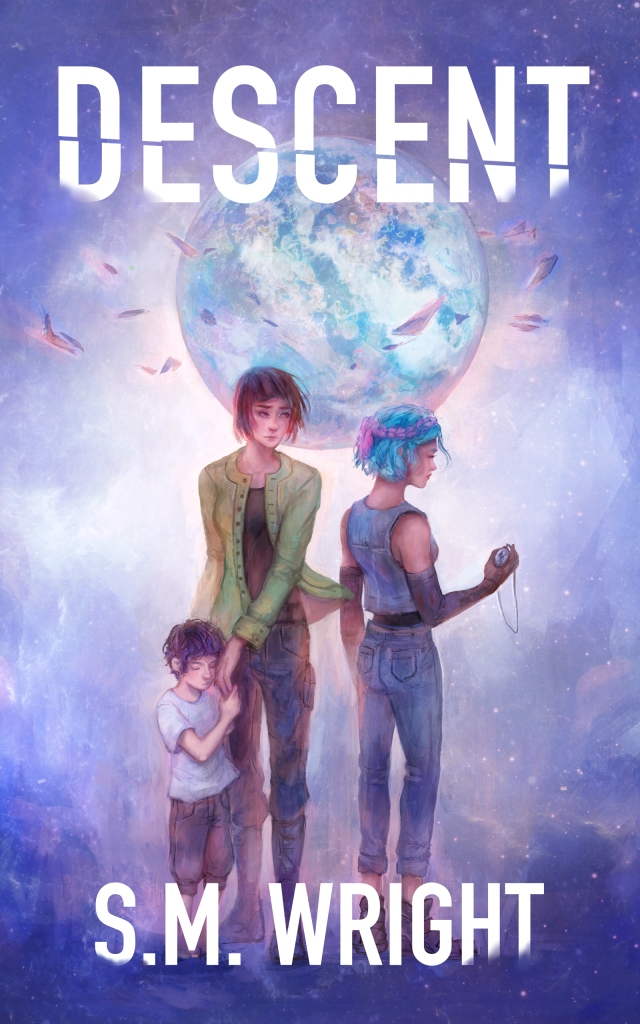 Descent cover featuring Sotiris, Katya, and a distant Mina.